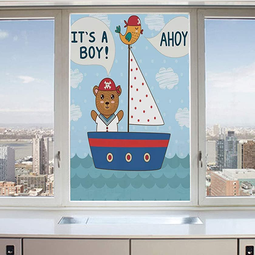 3D Decorative Privacy Window Films,Cute Baby Shower Theme Its a Boy in Nautical Style Bear and Bird in Boat,No-Glue Self Static Cling Glass Film for Home Bedroom Bathroom Kitchen Office 17.5x36 Inch