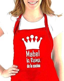 """Didart Handmade Delantal cocina personalizado hombre mujer con la frase:"""" (nombre) el Rey de la cocina, (nombre) la reina ..."""