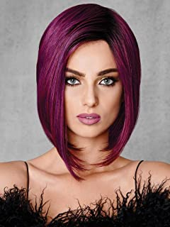 FCHW Short Ombre Hair Wigs For Black Women Synthetic Black Wine Red Wig Mixed Color Wig Purple Bob Short Wigs For Black Women African American Women Wigs (FCHW-XUPU-X755)