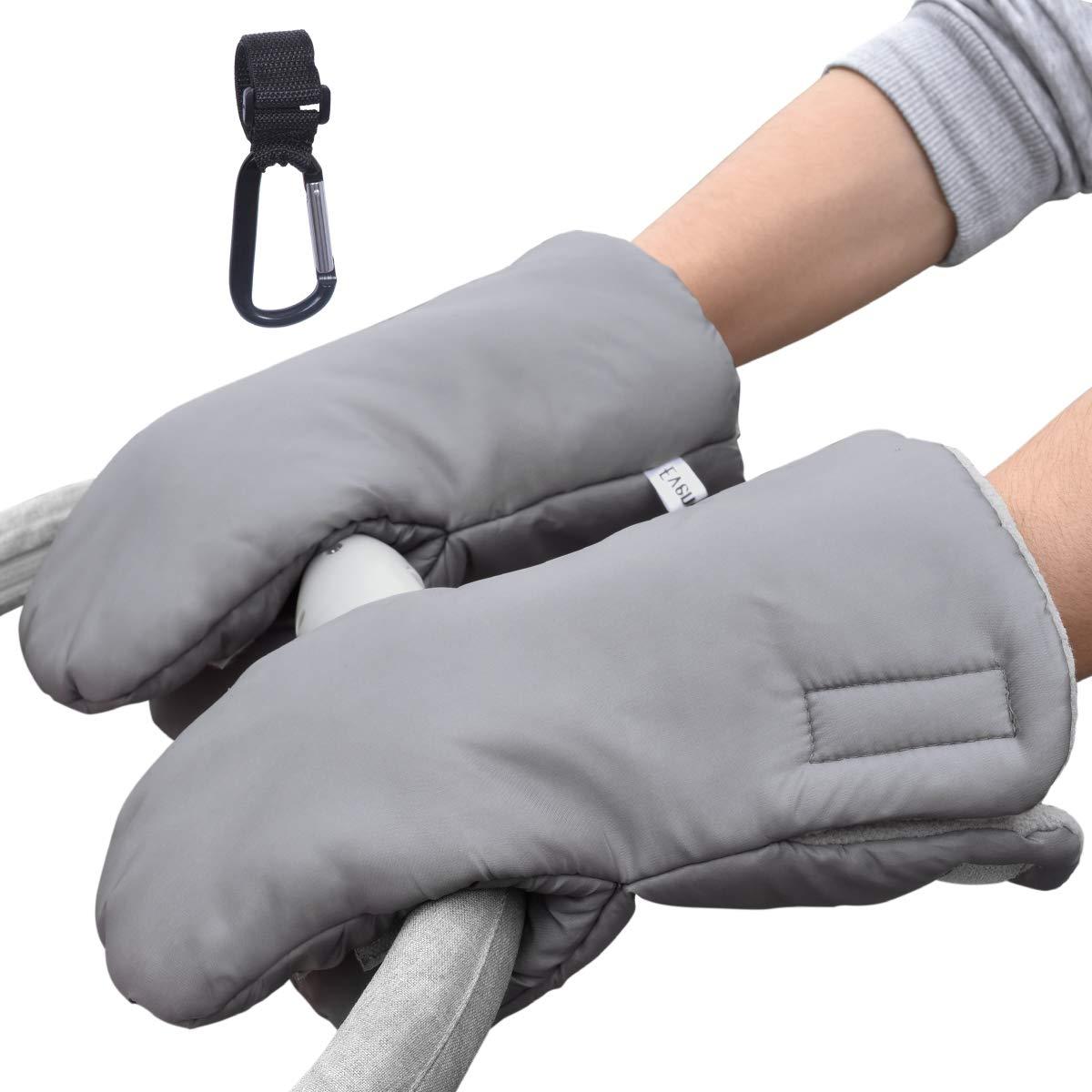 Evencaphy Stroller Gloves Universal Anti-Freeze Pram Hand Muffs Winter Gloves Pushchair Hand Warmers Water-Resistant with Stroller Hook, Grey