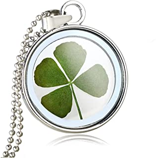 FM FM42 Gold/Silver Tone Dried Leaves Lucky 4-Leaf Clover Round Glass Locket Pendant Necklace