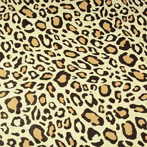 Pingianer 11,99€/m Leopard 100% Baumwolle Baumwollstoff Kinder Meterware Handwerken Nähen Stoff (Leopard Braun Creme, 100x160cm (11,99€/m))