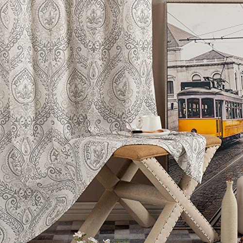 """Damask Printed Curtains for Bedroom Drapes Vintage Linen Blend Medallion Curtain Panels Window Treatments for Living Room Patio Door 2 Panels 95"""" L Grey"""