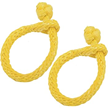 Yellow NovelBee 2 Pack of Soft Shackles,UHWMPE 12 Strand Synthetic Rope with Extra Protective Sleeve,Inner core Dia:6mm;Bow Width:100mm