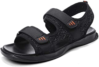 Shoes Comfortable Outdoor Sandals for Men Breathable Beach Shoes Open Toe Fashion Summer Hiking Walking Flat Sandals Knit Hook&Loop Strap Anti-Slip Fashion (Color : Black, Size : 6.5 UK)