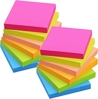 1200 Sheets Sticky Notes 3x3, 12 Pads/Pack, 6 Color Bright Colorful Sticky Pad, Self-Sticky Note Pads (Yellow, Green, Blu...