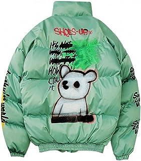 MDLJY Jacke Hip Hop Jacke Parka Sprühfarbe Graffiti Streetwear Herren Windbreaker Winter Padded Coat Warm Outwear Bear