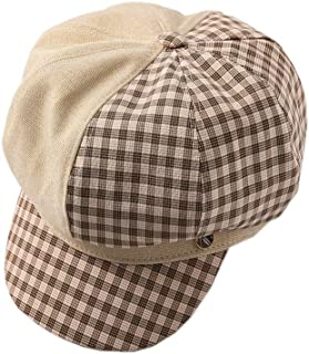ACVIP Women's Commuting Casual Plaid French Style Newsboy Cap