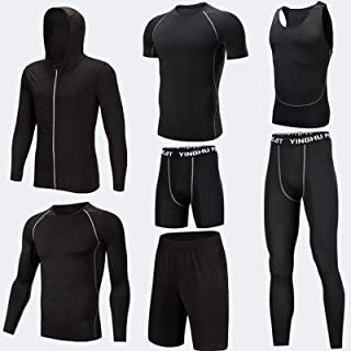 Men's Fitness Clothing Fitness Clothing Gym Outdoor Running Compression Pants Shirt Tops Long Sleeve Jacket 7 Pieces