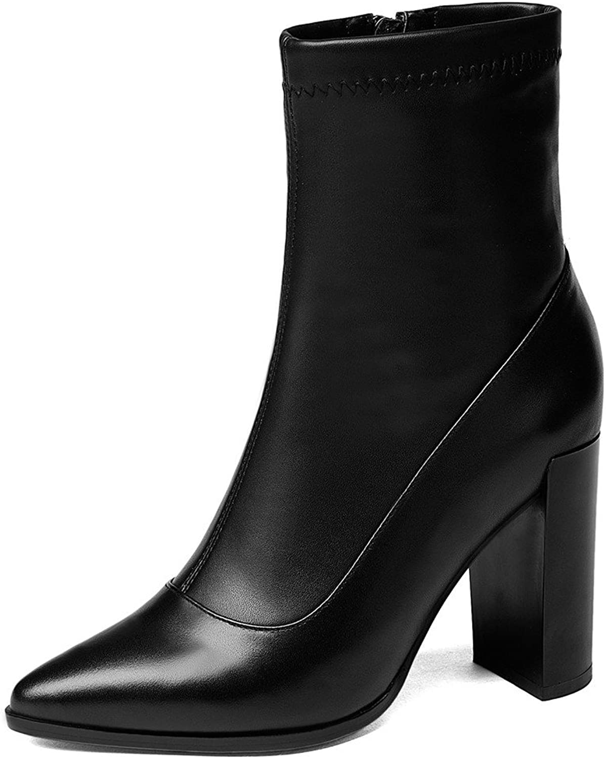 Nine Seven Genuine Leather Women's Pointed Toe Chunky Heel Classic Work Handmade Dress Ankle Booties New