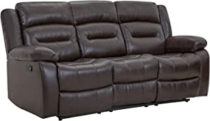 Recliner Chair Set Manual Recliner PU Leather Sofa and Couch Theater Seating Motion for Home Living Room (Three Seat, Brown)