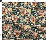 Spoonflower Stoff – Winter Flora Indigo Vögel Schnee