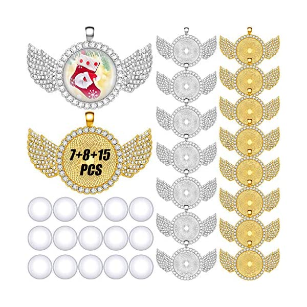 15 Pieces Rhinestone Bezel Pendant Trays Rhinestone Bezel Cabochon Trays with Wing...
