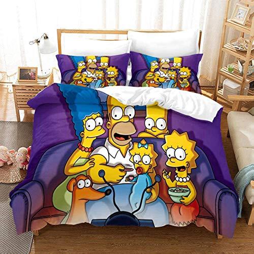 WTTING Simpson - Juego de funda nórdica para niños, funda de edredón y funda de almohada, diseño de dibujos animados 3D, 220 x 240 cm