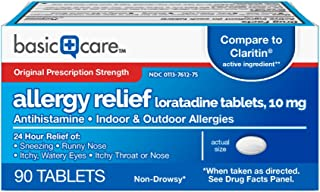 Basic Care Allergy Relief Loratadine Tablets, 90Count