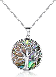 18K White Gold Plated Created Abalone Pearl Tree Of Life...