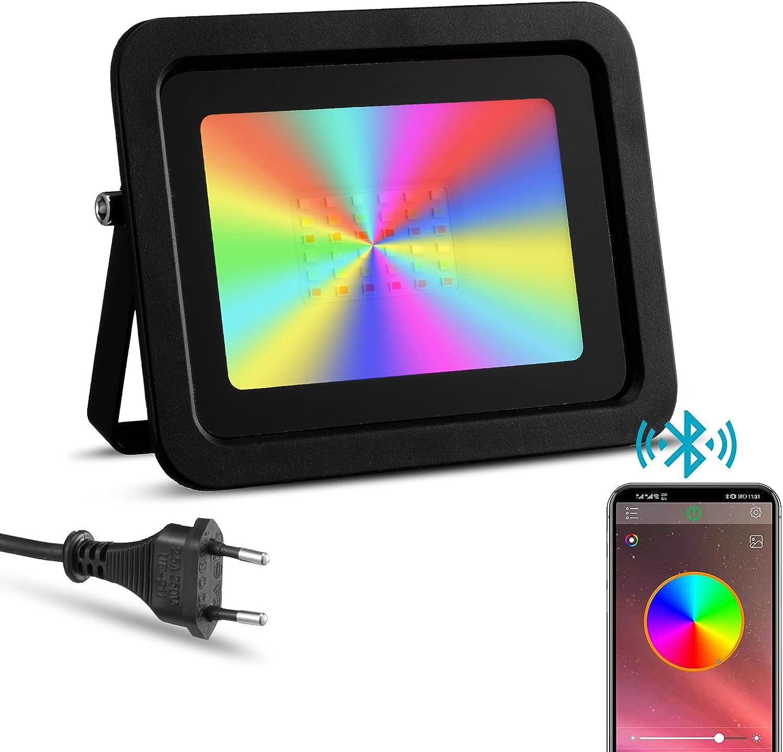 Foco LED RGBW de Exterior 50W Controlado por Teléfono Inteligente, IP68 Impermeable, Proyector LED Inteligente de color RGB, Iluminación Jardín Piscina Boda Fiesta(50W Negro)