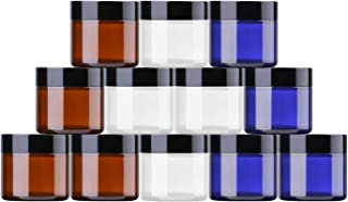 2 oz Round Glass Jars (12 Pack) - Empty Cosmetic Containers with Inner Liners, black Lids and Glass Sample Jars with lables (4 Each Transparent, Amber, Cobalt Blue) by THETIS Homes