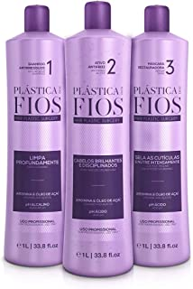 Cadiveu - Plastica Dos Fios Brazilian Keratin - Hair Plastic Surgery Anti Frizz Active, Anti Residue Shampoo And Repair Mask - The Best Smoothing System - (3x1000 ML) (Set of 3)