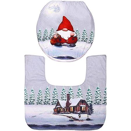 B Blesiya WC Schneemann Sitzbezug Weihnachten WC-Sitzbezug Weihnachtsmann Toilettendeckel-Bezug Abdeckung