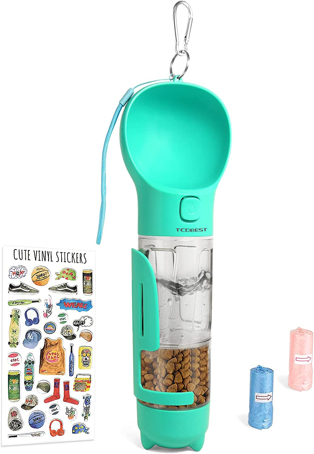 TCDBEST Dog Water Bottle 5 in 1 with Pooper Scooper, Poop Bags, Food Storage Container for Outdoors Hiking Walking
