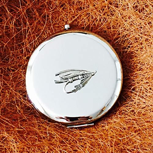 Echt nuttige geschenken antieke tinnen vliegen lokken karper forel vissen vissen embleem op een dames Compact hand spiegel cadeau