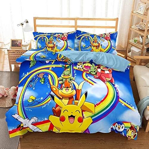 GD-SJK - Juego de ropa de cama para niños, pikachu, Pokémon, Niños, Niñas, funda de cama, funda de almohada, juego de 3, ropa de cama, juego de microfibra con cremallera, 3, 135 x 200 cm