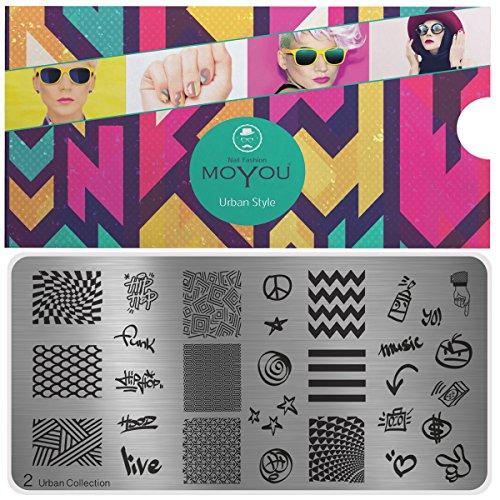 MoYou's XL Urban platen collectie 2, volledige ontwerpen en kleine ontwerpen stempelen sjabloon voor nail art