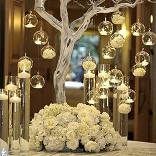 Sziqiqi 80MM Hanging Tealight Holder Glass Globes Terrarium Wedding Candle Holder Candlestick (18 Pcs/Set)