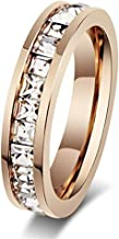Womens Stainless Steel Rose Gold Wedding Ring Channel Set Cubic Zirconia Engagement Eternity Band for Her (9)