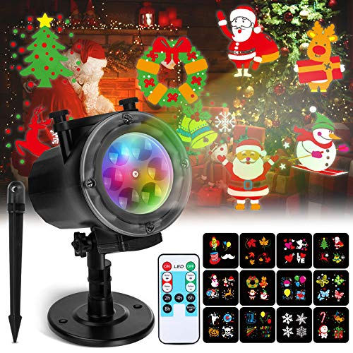 Christmas Projector Lights Elfeland LED Lights Projector Outdoor with 12 Ocean Wave Patterns, Christmas Projector with Remote & Timing for Indoor Outdoor Xmas New Year Holiday Party Decorations