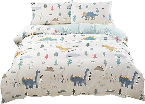 SAIWER Dinosaur Cartoon Kids Boys Duvet Cover and Pillow Shams Bedding Set 100% Cotton with Corner Ties and Zipper (3pcs