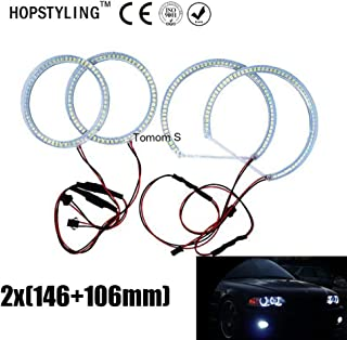 Car Accessories 2X (146mm+106mm) Led Halo Rings for Mitsubishi Lancer SMD Light Angel Eyes LED Headlights 6500K White-1