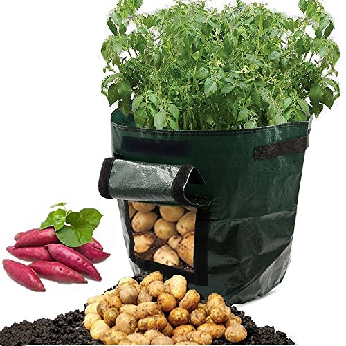 ASOON 2-Pack 7 Gallon Garden Potato Grow Bag Vegetables Planter Bags with Handles and Access Flap for Potato, Carrot & Onion