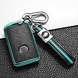 ontto Autoschlüssel Hülle Fernbedienung Cover für Mazda 3 Axela CX-30 2019 2020 CX-5 CX-8 CX-9 2020 PU Leder Schlüsselhülle Schlüsselanhänger Schlüssel Schutz Etui Case 3 Tasten-Grün
