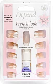 DEPEND FRENCH LOOK ART SET DETACHABLE NAILS 100 pieces + SUPER STRONG NAIL GLUE!