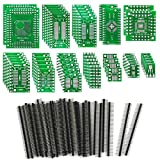 KeeYees 12 Types SMD to DIP Adapter PCB Proto Board Kit SOP8 SOP10 SOP14 SOP16 SOP20 SOP24 SOP28 0402/0603/0805 SMT SOT89/SOT223 TQFP100 QFN32 QFN44/48 with 40pcs 2.54mm Pin Header