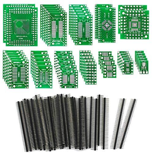 KeeYees 12 Typen SMD zu DIP Adapter Platine PCB Prototype Kit SOP8 SOP10 SOP14 SOP16 SOP20 SOP24 SOP28 0402/0603/0805 SMT SOT89/SOT223 TQFP100 QFN32 QFN44/48 mit 40 Stück 2,54mm Stiftleiste