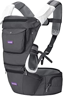 Clevamama Clevamama Ergonomic Baby Carrier - Adjustable Baby Carrier from Newborn to Toddler (3.5 - 15 kg), Grey