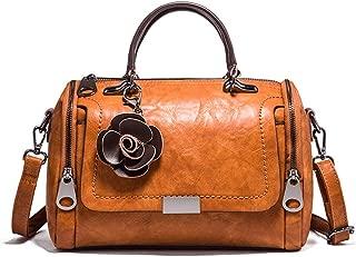 Boston Style Handbags for Women Small Top Handle Satchel Crossbody Mini Barrel Purse