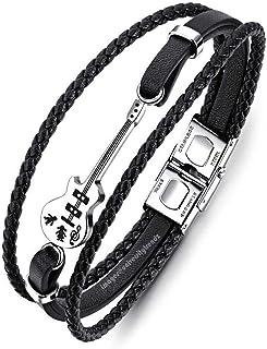 University Trendz PU Leather Funky Guitar Bracelet for Mens & Boys (Black)