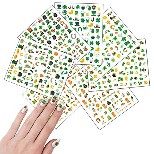 3D St.Patrick's Day Nail Art Stickers Lucky Clover Nail Decals Shamrock Green Leaf Dollar Coins Spring Design Nail Art Supplies Self Adhesive Nail Stickers for Acrylic Nail Decorations 7 Sheets