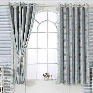 Jinguizi Grommet Window Curtain Blackout Curtain Brown and Blue,Twirls Vortex Design Geometric Curved Lines Hypnotic Elements,Pale Blue Mustard Umber Drapes Panels 84 x 72 inch