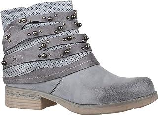 02f12b1103986f Elara Bottines pour Femmes | Bottes de Motard Confortables | Similicuir  Look Métallique | Chunkyrayan