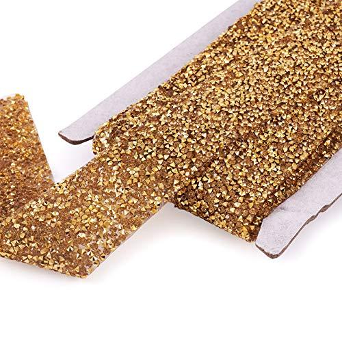Beadthoven - Cinta de diamantes de imitación de cristal de 5 yardas, cinta brillante de diamante brillante, cinta para cinturón para bodas, pasteles, cumpleaños, (dorado, 1.57 pulgadas)