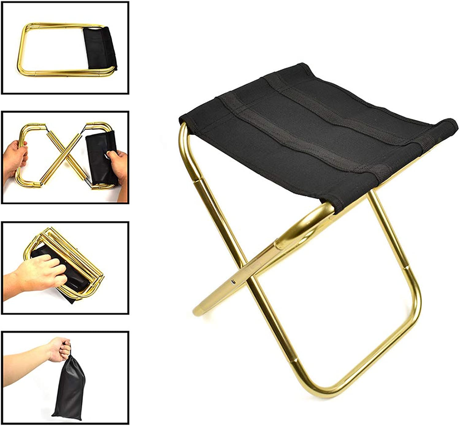 Camping Folding Chairs, Small Outdoor Folding Chair Aluminum Fishing Chair Portable Barbecue Folding Stool