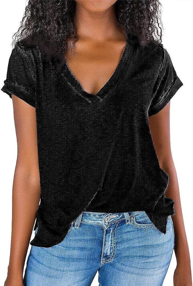 Imily Bela Womens V Neck Tshirts Summer Tops Casual Short Sleeve Loose Side Slit T Shirt