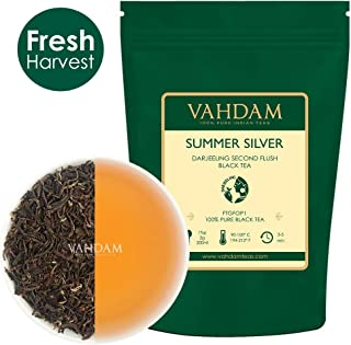 FRESH Second Flush Summer Silver Darjeeling Second Flush Black Tea (50 Cups) , Exclusive Tea Direct from India, Loose Leaf Tea 100gm