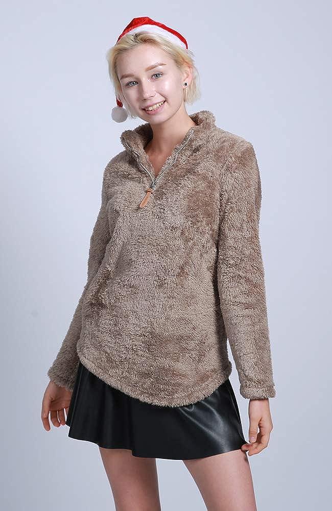 FOURSTEEDS Damen Casual Sherpa Fleece Pullover 1/4 Reißverschluss Langarm Kragen Outwear Jacke Mantel Vintage Weiß XS Dunkles Kaki