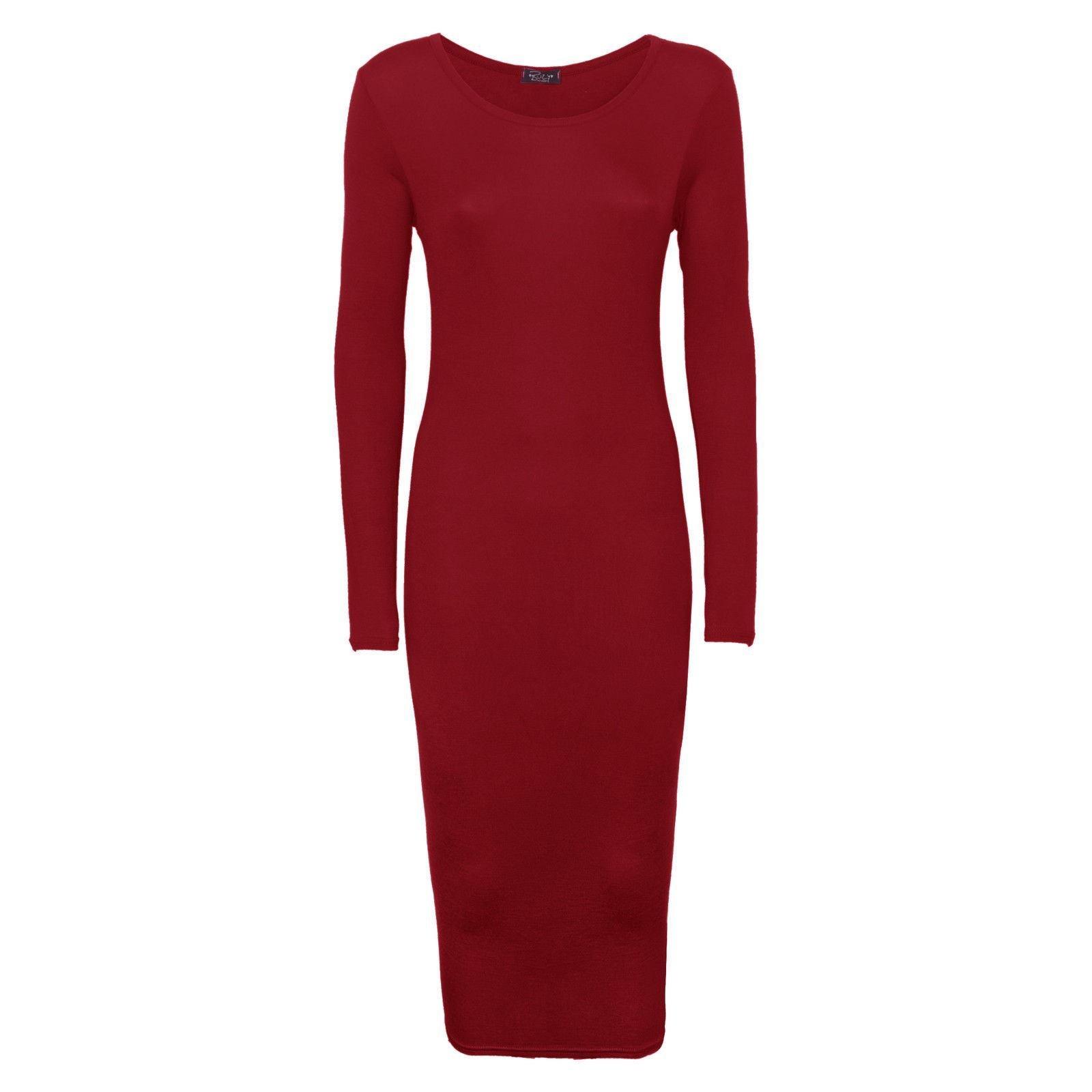 Available at Amazon: Crazy Girls Women's Ladies Long Sleeve Scoop Neck Midi Dress